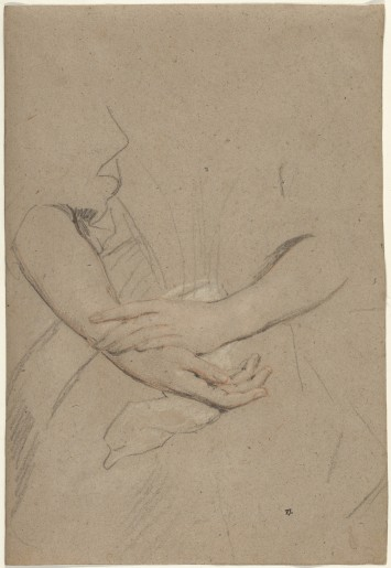 Peter Lely, Study of the Forearms and Hands of a Woman, c. 1665. Black chalk with red and white highlights on paper. New York: Robert Lehman Collection, The Metropolitan Museum of Art.
