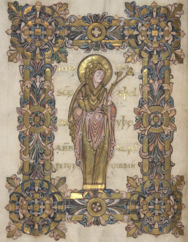 St Æthelthryth. British Library MS Additional 49598, Benedictional of St Aethelwold, fol. 90v.