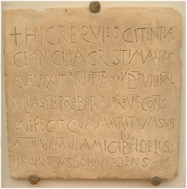 Latin Inscription, found in France. C. 535. (Image: Wikipedia.)